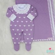 Saída de Maternidade Amore Baby Lilás e Branco