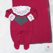 Saída de Maternidade Amore Marsala e Cinza