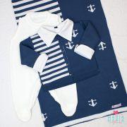 Saída de Maternidade Âncora Azul Jeans e Branco