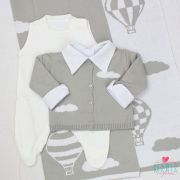 Saída de Maternidade Balão Cinza e Branco