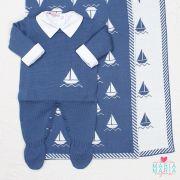 Saída de Maternidade Barco Azul Jeans