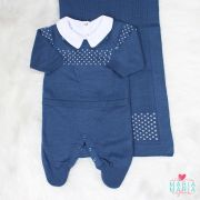 Saída de Maternidade + Body Pontinho Azul Jeans