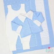 Saída de Maternidade Bolinhas Azul e Branco