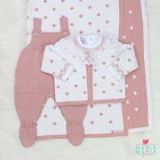 Saída de Maternidade Bolinhas Branco e Rosê