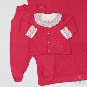 Saída de Maternidade Botão Pérola Pink