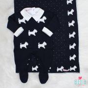 Saída de Maternidade Cachorrinho Marinho e Branco