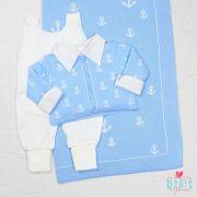 Saída de Maternidade Casaco Âncora Azul