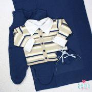 Saída de Maternidade Casaco Listras Azul Jeans