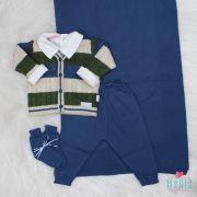 Saída de Maternidade Casaco Tranca Azul Jeans