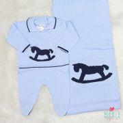 Saída de Maternidade Cavalinho Balanço Azul