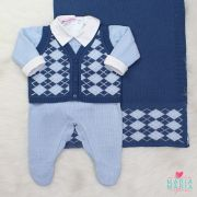 Saída de Maternidade Colete Azul Jeans e Azul