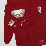 Saída de Maternidade Coração Pérolas Bordô