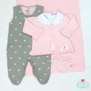 Saída de Maternidade com Luva Coração Rosa e Cinza
