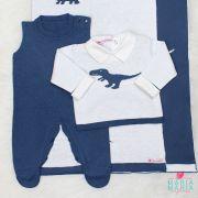 Saída de Maternidade Dinossauro Branco e Azul Jeans