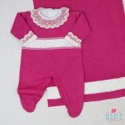 Saída de Maternidade Faixa Bordada Pink