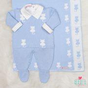 Saída de Maternidade Gatinho Azul e Branco