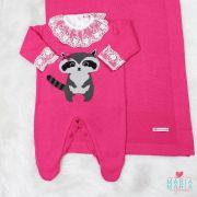 Saída de Maternidade Guaxinim Bordado Pink