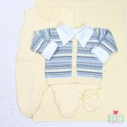 Saída de Maternidade Jacar Amarelo e Azul