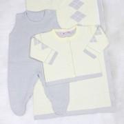 Saída de Maternidade Tricô Jacar Escocês Amarelo e Cinza