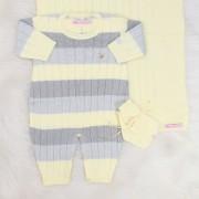 Saída de Maternidade Listrado Amarelo e Cinza