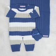 Saída de Maternidade Listrado Azul Jeans e Bege