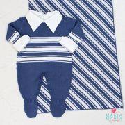 Saída de Maternidade Listrado Azul Jeans e Branco