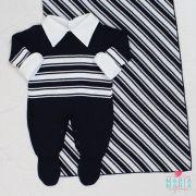 Saída de Maternidade Listrado Marinho e Branco