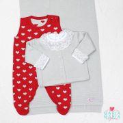 Saída de Maternidade Love Cinza e Vermelho