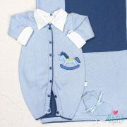 Saida de Maternidade Macacão Cavalinho Azul