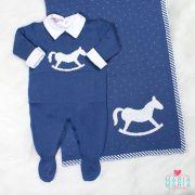 Saída de Maternidade Macacão Cavalinho Azul Jeans e Branco