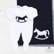 Saída de Maternidade Macacão Cavalinho Branco e Marinho