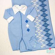 Saída de Maternidade Macacão Escocês Azul