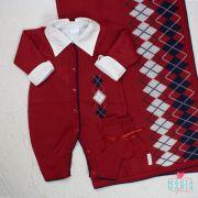 Saída de Maternidade Macacão Escocês Vermelho