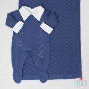 Saída de Maternidade Macacão Losango Azul Jeans