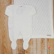 Saída de Maternidade Macacão Losango Branco