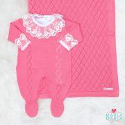 Saída de Maternidade Macacão Losango Rosa Candy