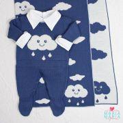 Saída de Maternidade Macacão Nuvem Azul Jeans