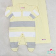 Saída de Maternidade Polo Amarelo e Cinza
