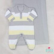 Saída de Maternidade Polo Cinza e Amarelo