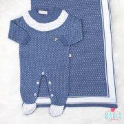 Saída de Maternidade Renda Poá Azul Jeans e Branco