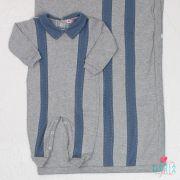 Saída de Maternidade Suedine Tracinhos Cinza e Azul Jeans