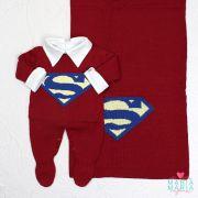 Saída de Maternidade Superman Bordô