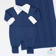 Saída de Maternidade Suspensório Azul Jeans