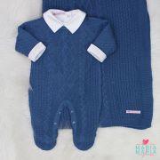 Saída de Maternidade Tranca Rendada Azul Jeans