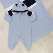 Saída de Maternidade Tricô Capuz Azul Pó e Marinho