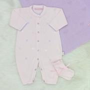 Saída de Maternidade Tricô Coração Rosa Blush e Lilás