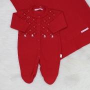 Saída de Maternidade Tricô Floral Pérola Vermelho