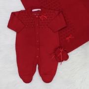 Saída de Maternidade Tricô Macacão Vazado Pérola Vermelho Escuro