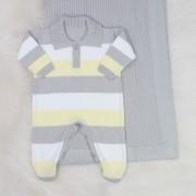 Saída de Maternidade Tricô Polo Cinza e Amarelo