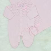 Saída de Maternidade Tricô Vazado Pérola Rosa Blush